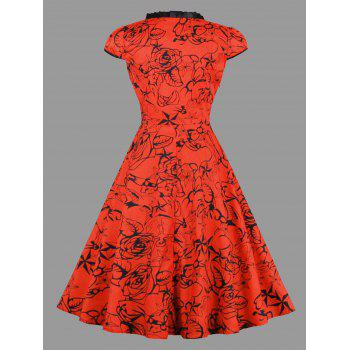 Plus Size Lace Up Floral Star Print Dress - RED 4XL