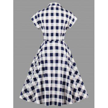 Plus Size Plaid Lapel Dress with Pockets - CHECKED 4XL