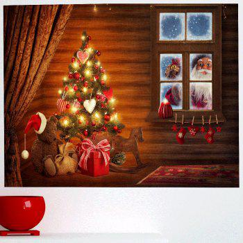Chrismas Tree Santa Claus Print Wall Art Sticker - COLORFUL 1PC:24*47 INCH( NO FRAME )