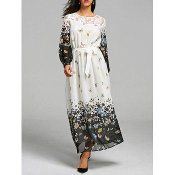 Lace Insert Butterfly Print Maxi Dress - WHITE M