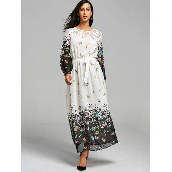 Lace Insert Butterfly Print Maxi Dress - M M