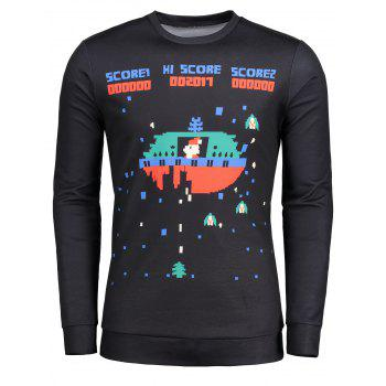 Cartoon Game Pattern Crew Neck T-shirt - BLACK L