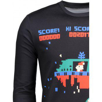 Cartoon Game Pattern Crew Neck T-shirt - L L