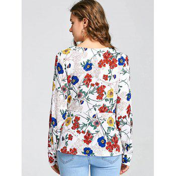 Long Sleeve Floral Print Surplice Blouse - COLORMIX M