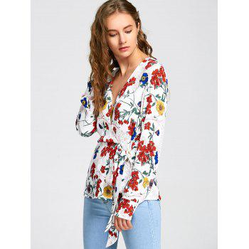 Long Sleeve Floral Print Surplice Blouse - COLORMIX COLORMIX