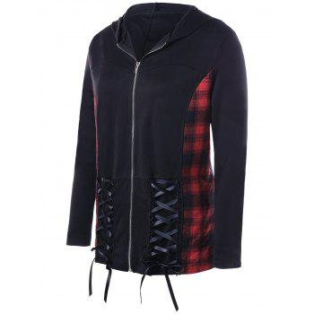 Manteau en coton Plaid Panel - Noir 2XL