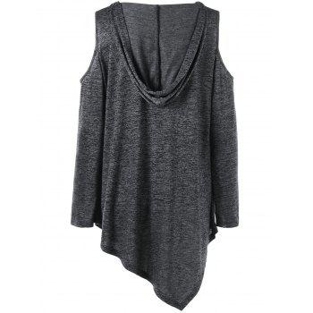Lace Up Cold Shoulder Tunic Plus Size Hoodie - DEEP GRAY 2XL