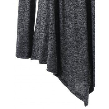 Lace Up Cold Shoulder Tunic Plus Size Hoodie - DEEP GRAY 5XL