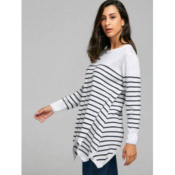 Striped Loose Fitting Asymmetrical Knitwear - WHITE WHITE