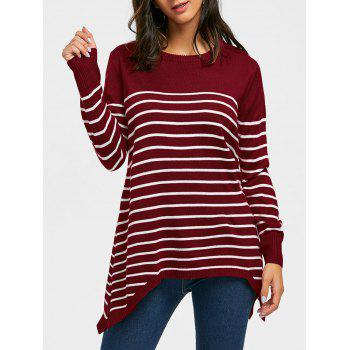 Striped Loose Fitting Asymmetrical Knitwear - WINE RED WINE RED