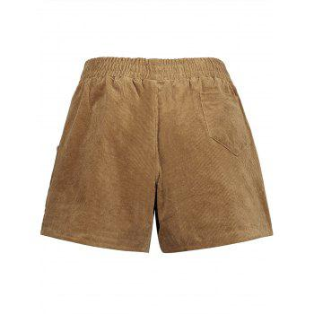 Plus Size Corduroy Pocket Shorts - DARK CAMEL DARK CAMEL