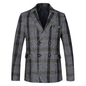 Lapel Double Breasted Woolen Tartan Blazer - LIGHT GRAY LIGHT GRAY