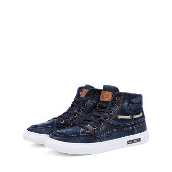 Denim Stitching Letter Skate Shoes - BLUE 43