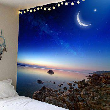 Starry Sky Crescent Printed Wall Art Hanging Tapestry - BLUE BLUE