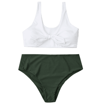 Tied Plus Size Two Tone Bikini - ARMY GREEN 4XL