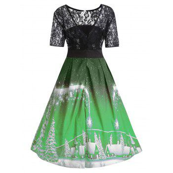 Plus Size Christmas Party Lace Panel Vintage Dress - GREEN 3XL