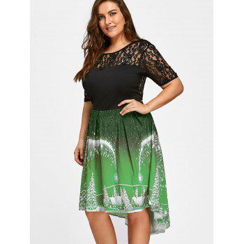 Plus Size Christmas Party Lace Panel Vintage Dress - GREEN XL