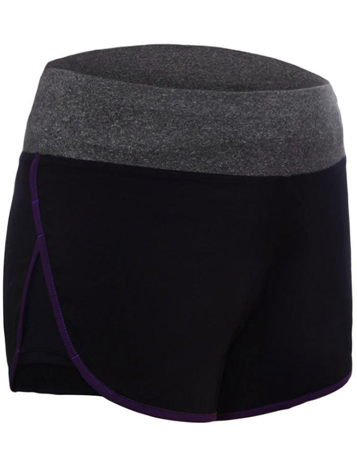 Drawstring Waist Dolphin Running Shorts - PURPLE L