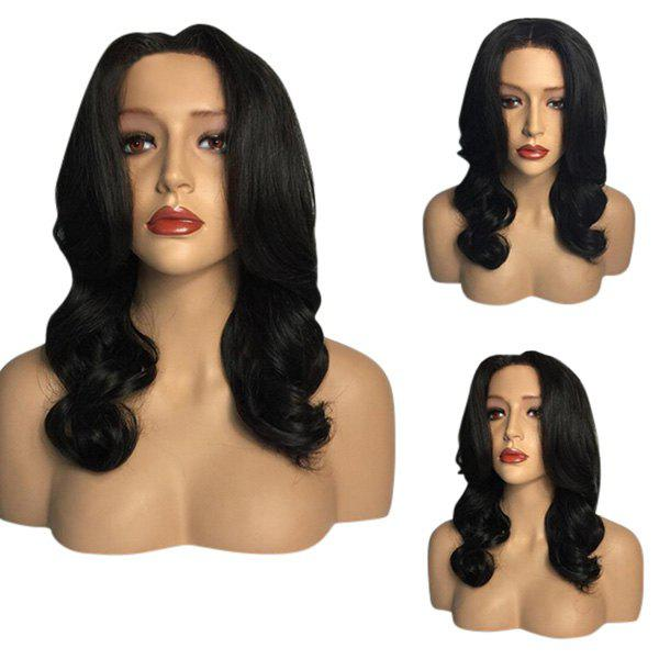 Center Part Long Wavy Heat Resistant Synthetic Wig - BLACK