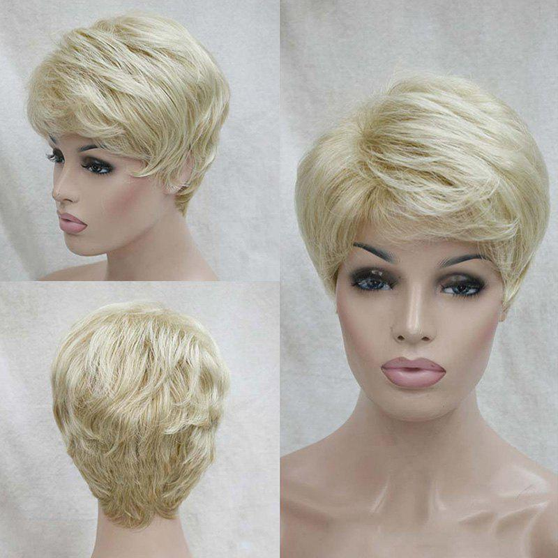Short Side Bang Shaggy Layered Natural Straight Human Hair Wig - LIGHT GOLD