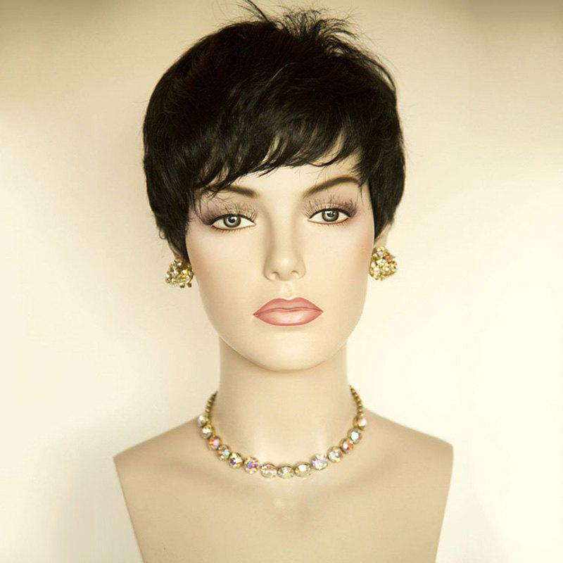 Short Oblique Fringe Layered Straight Hair Hair Wig - Noir
