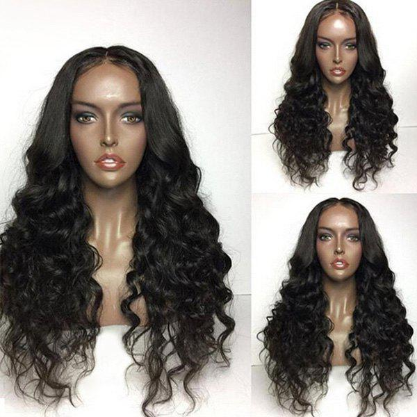 Long Center Parting Bouffant Loose Wave Synthetic Wig - BLACK
