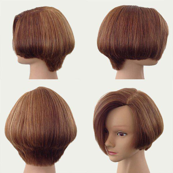 Side Parting Fluffy Short Straight Bob Synthetic Wig - BROWN