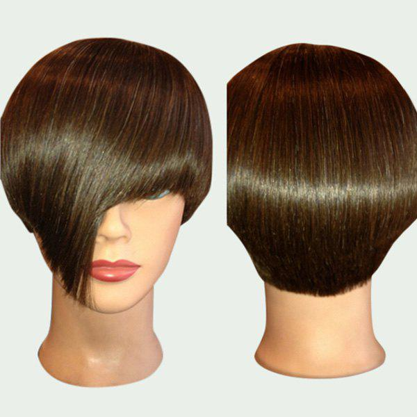 Short Synthetic Straight Wig With Side Long Bang - BROWN