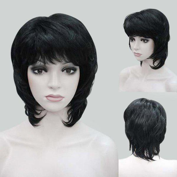 Medium Inclined Bang Natural Straight Human Hair Wig - BLACK