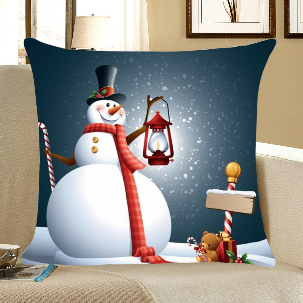 Chrismas Snowman Printed Pillow Cover - COLORFUL W18 INCH * L18 INCH