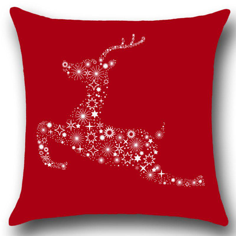 Christmas Stars Elk Printed Linen Pillow Case - RED W18 INCH * L18 INCH