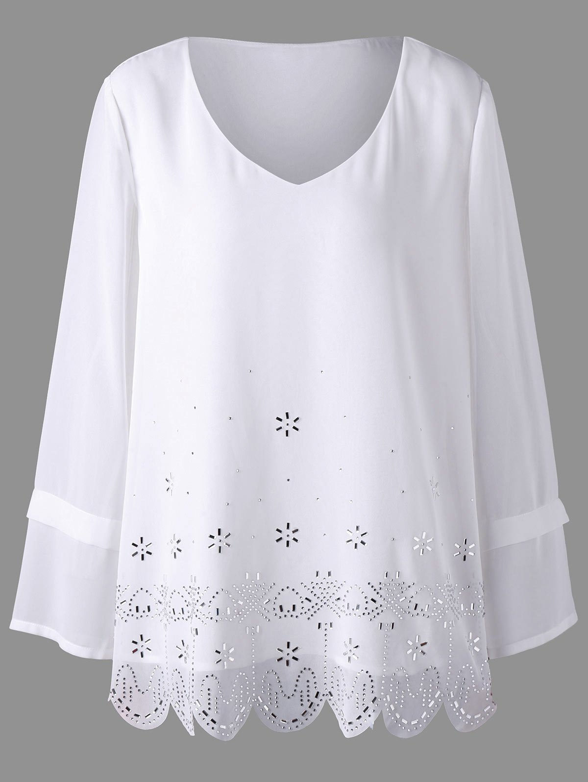 Plus Size Embellished Scalloped Blouse - WHITE 5XL