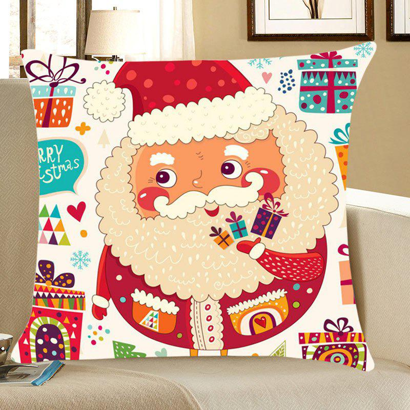 Colorful Santa Claus Pattern Linen Pillow Case - COLORFUL W18 INCH * L18 INCH