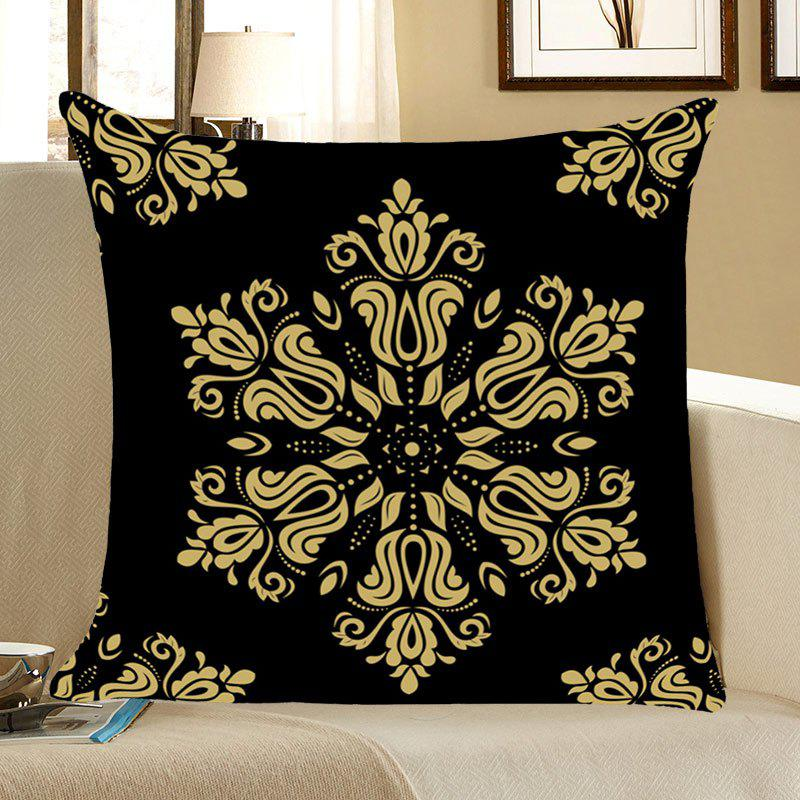Home Decor Flower Totem Printed Throw Pillow Case - BLACK W18 INCH * L18 INCH