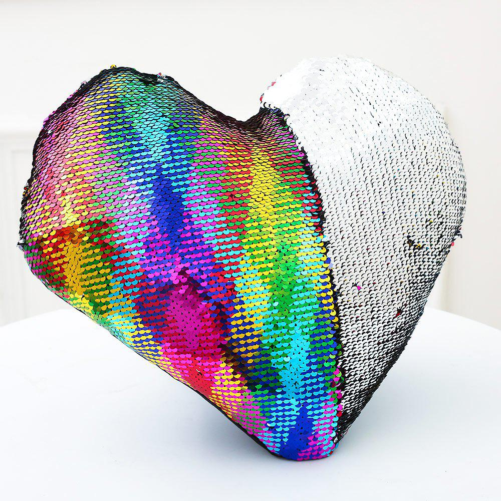 Sequin Mermaid Reversible Heart Shaped Pillow - COLORFUL