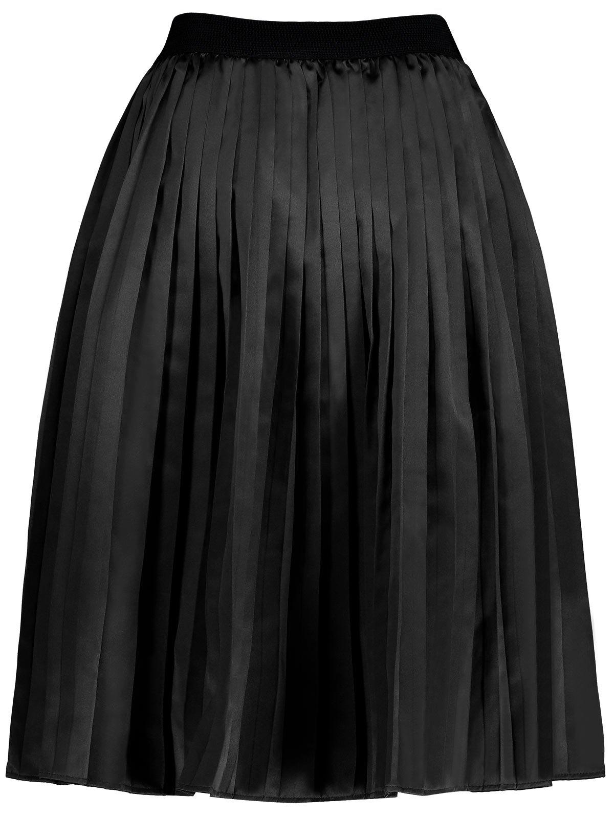 Plus Size Pleated Midi Elastic Waist Skirt - BLACK 3XL