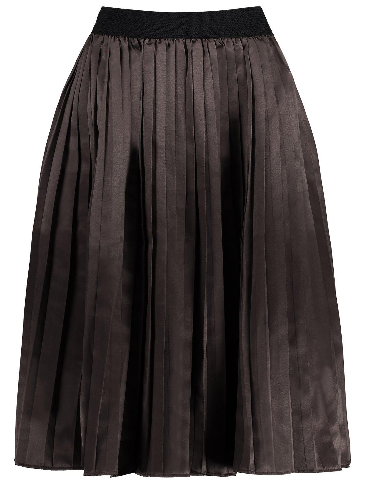Plus Size Pleated Midi Elastic Waist Skirt - DARK CAMEL 2XL