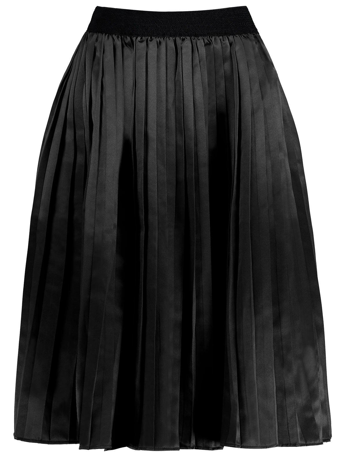 цена Plus Size Pleated Midi Elastic Waist Skirt