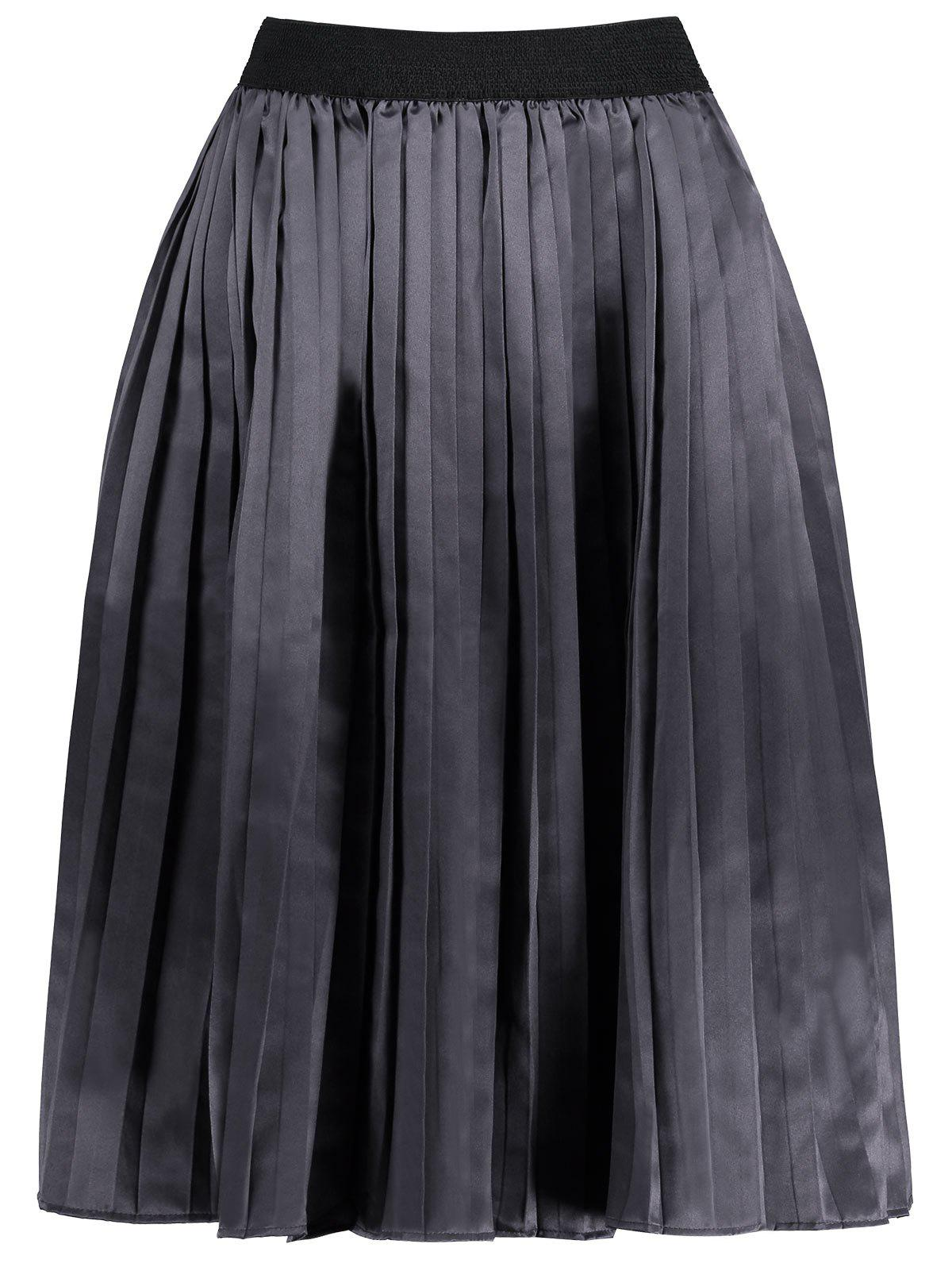 Plus Size Pleated Midi Elastic Waist Skirt - SMASHING 4XL
