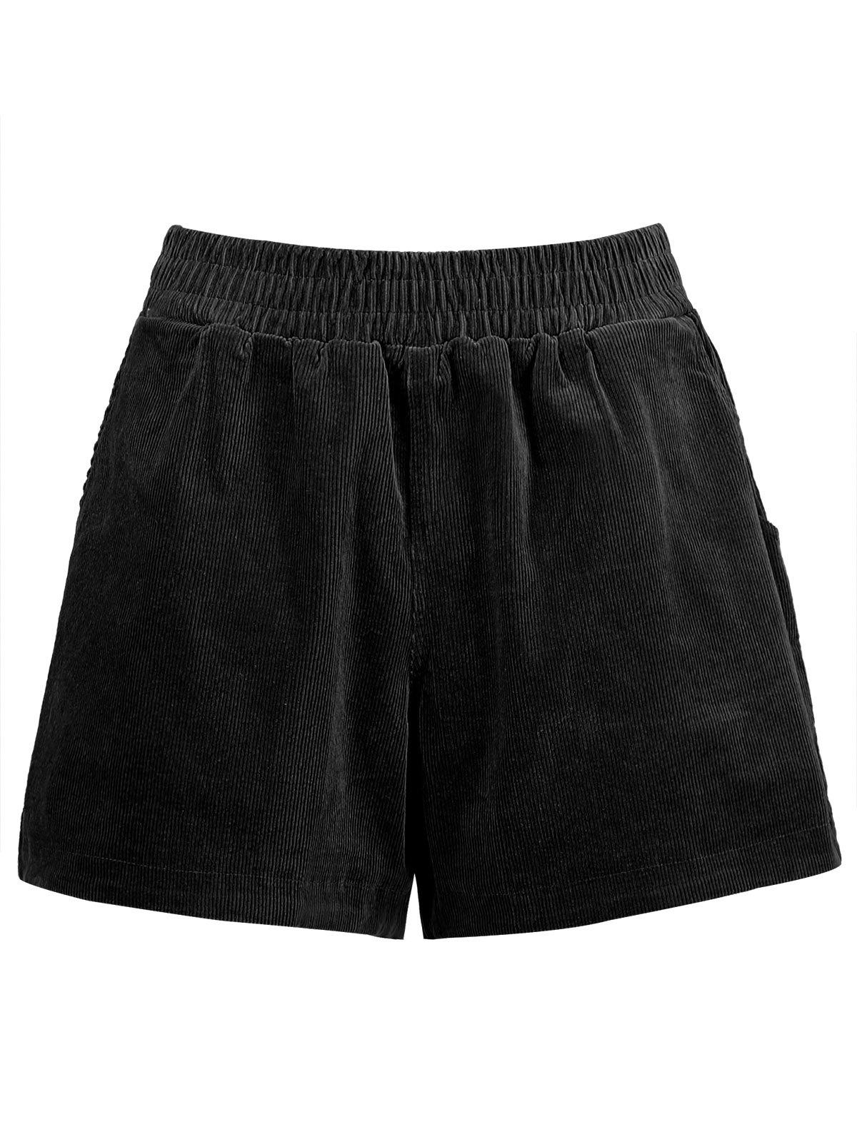 Plus Size Corduroy Pocket Shorts - BLACK 5XL