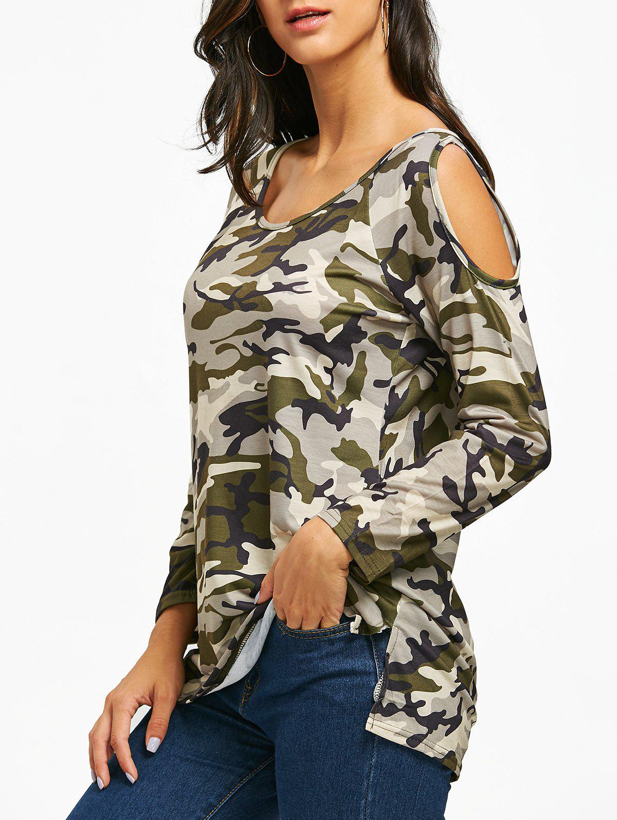 Camouflage Cold Shoulder Slit T-shirt camouflage pattern cold shoulder loose fit t shirt