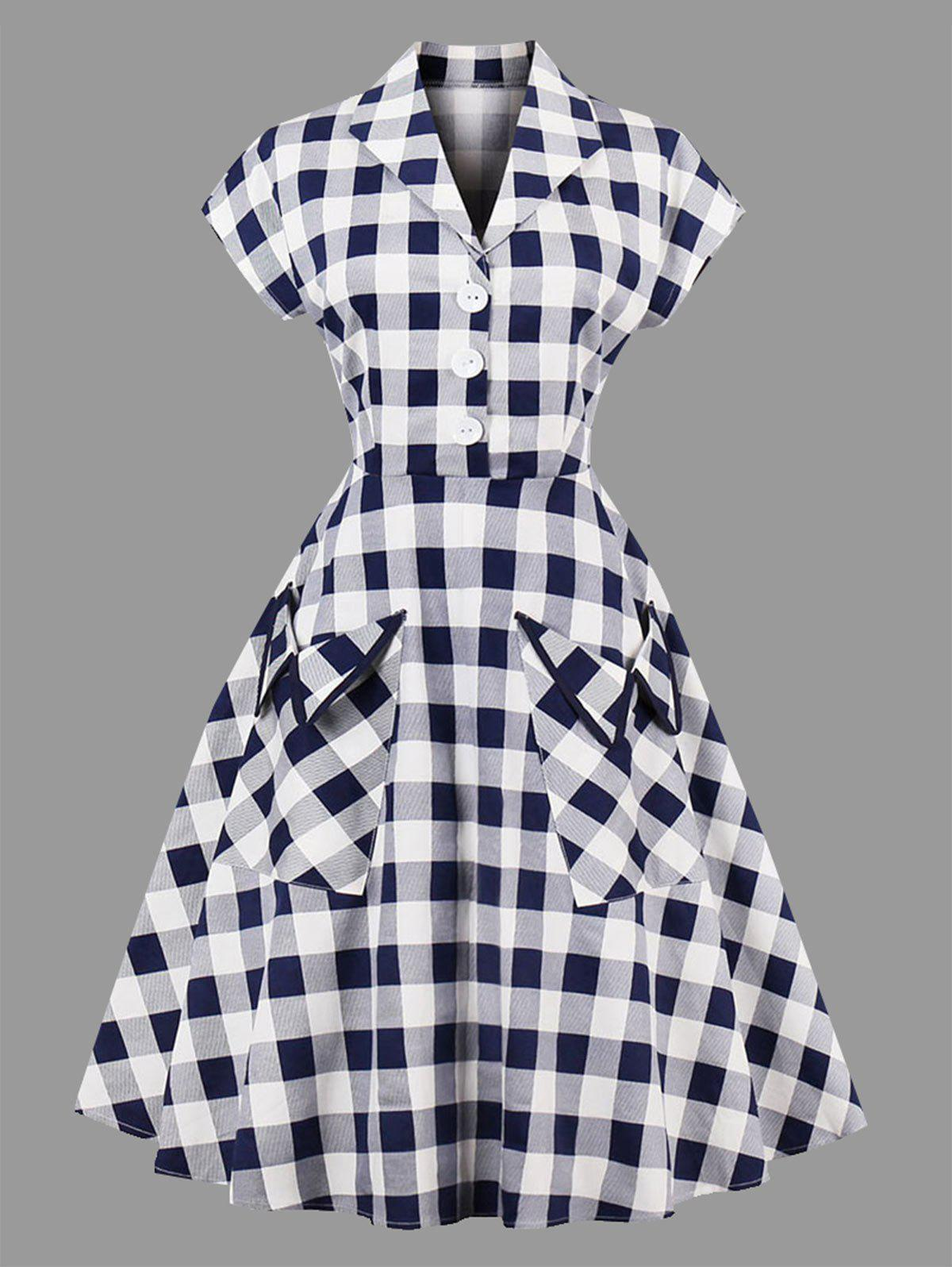 Plus Size Plaid Lapel Dress with Pockets