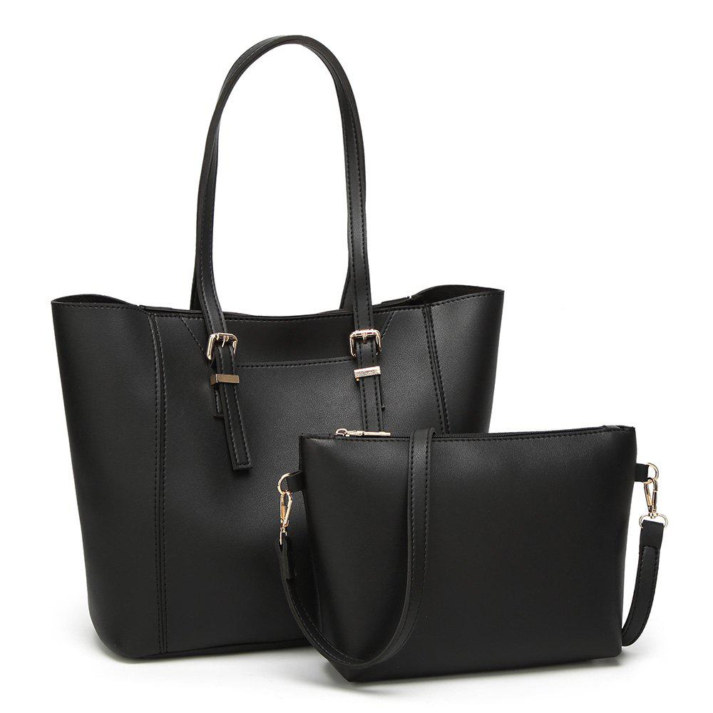 Buckle Strap 2 Pieces Shoulder Bag Set - BLACK
