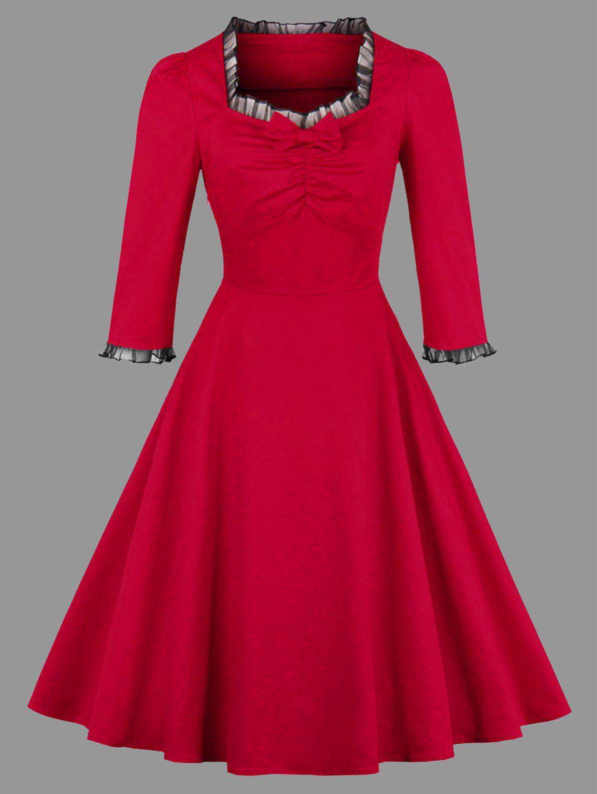Plus Size Bowknot Ruffle Vintage Dress - RED 4XL
