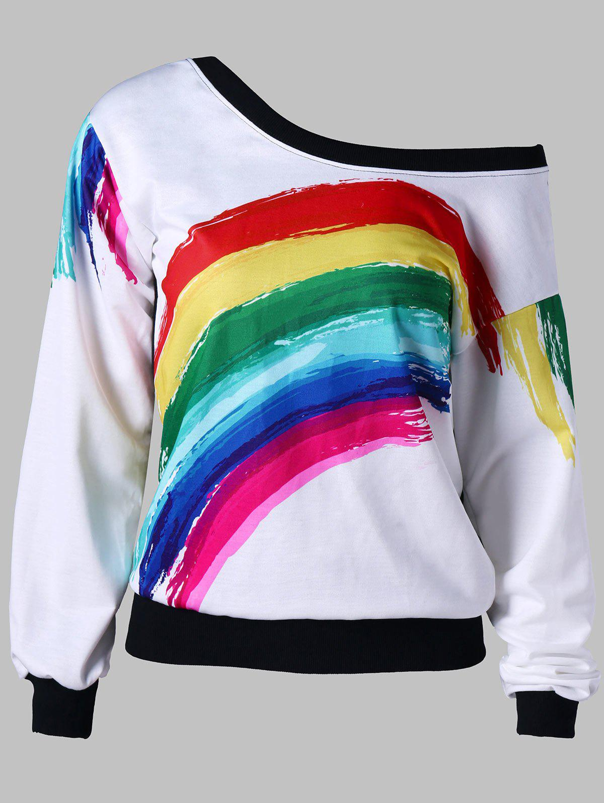 Skew Neck Rainbow Color Sweatshirt amt 9504