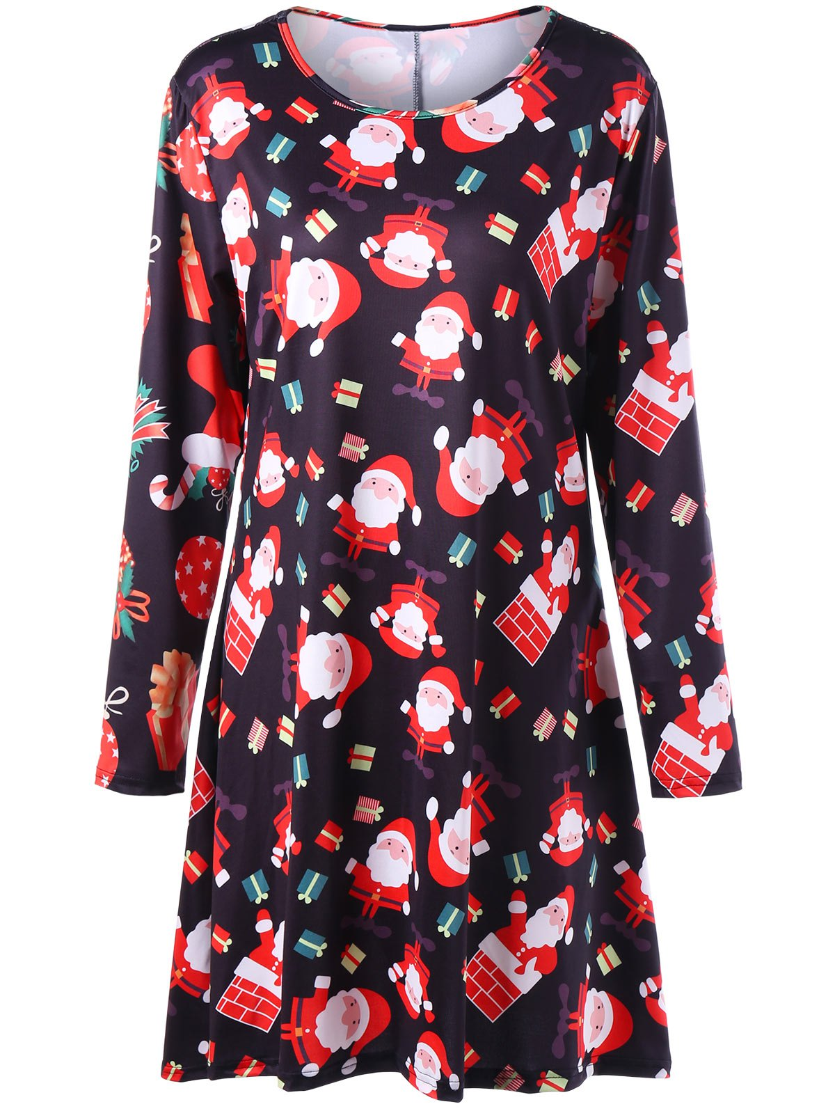 Plus Size Christmas Santa Claus Print Mini Swing Dress long sleeve santa print christmas mini swing dress