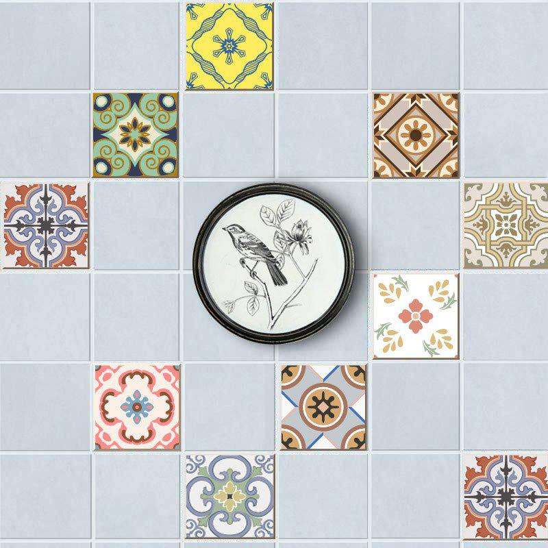 European Wall Tile Stickers Nonslip Floor Decals Set - multicolorcolore 8*8 INCH