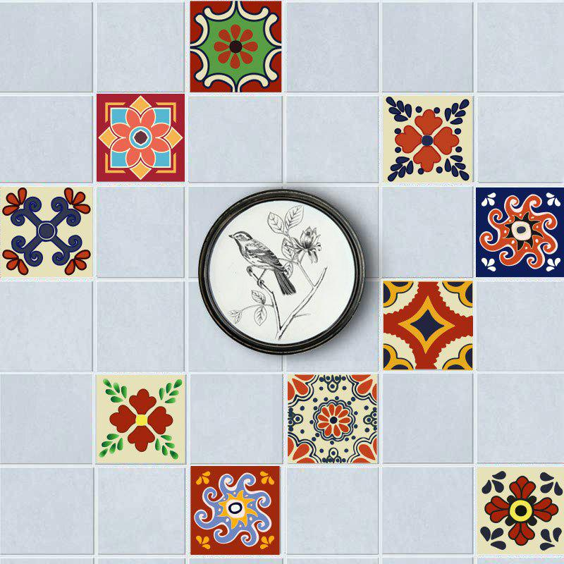 European Nonslip Floor Decals Flower Wall Tile Stickers Set - COLORFUL 6*6 INCH