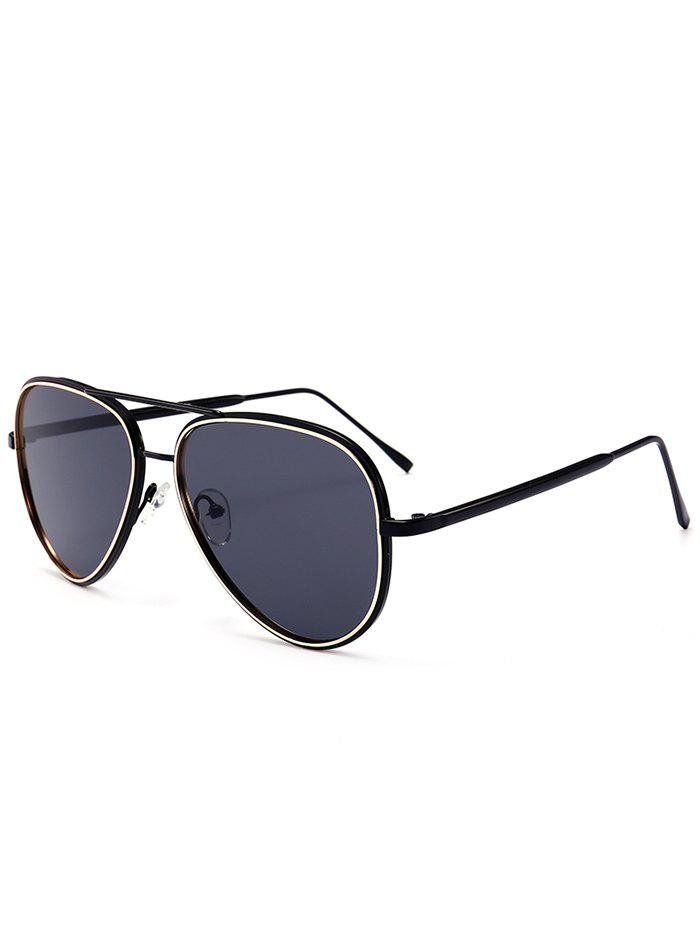 UV Protection Metal Frame Crossbar Sunglasses - DARK GREY