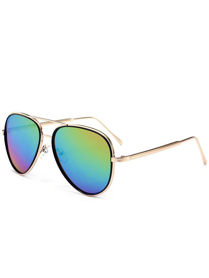 UV Protection Metal Frame Crossbar Sunglasses - COLORFUL